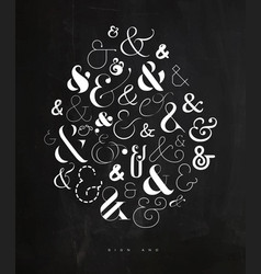 poster symbol ampersand chalk vector image