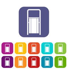 Public garbage bin icons set flat vector