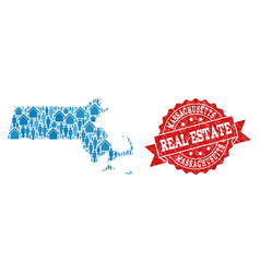 Real estate collage of mosaic map of massachusetts vector