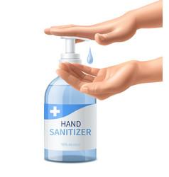 Realistic hands sanitizer bottle 3d dispenser vector