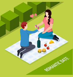 romantic date outdoor isometric composition vector image
