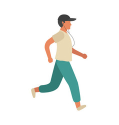 running man simple athletic character guy vector image