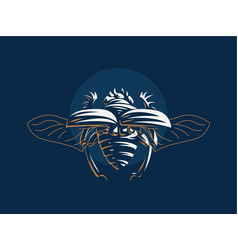 scarab beetle with open wings vector image