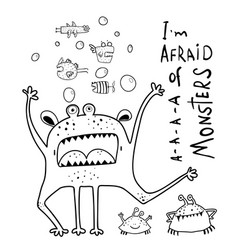 screaming funny monster for kids coloring page vector image