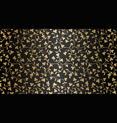 Seamless golden texture floral pattern vector