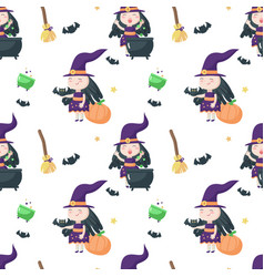 seamless pattern with cute little halloween vector image