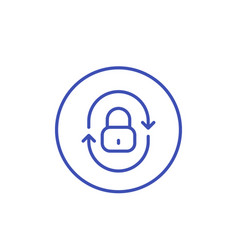security icon with lock and arrows linear style vector image