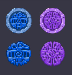 set isolated signs symbol aztecs maya vector image
