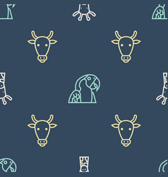 Set line giraffe head cow and macaw parrot on vector