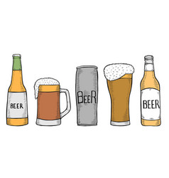 set of beer bottles and glass vector image
