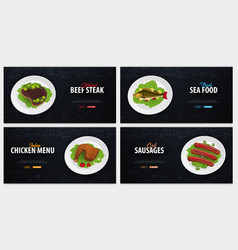set of meat dishes beef fish chicken and vector image
