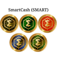 Set of physical golden coin smartcash smart vector