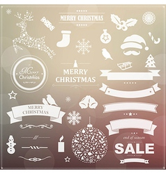 Set Of Vintage Christmas Symbols And Ribbons vector image