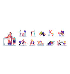set people with kids parents male female vector image