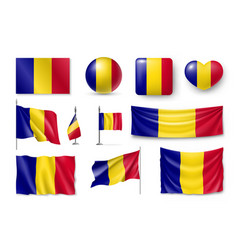 Set romania flags banners banners symbols flat vector