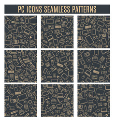 set seamless patterns from computer and gadget vector image