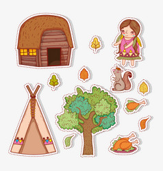 Set woman indigenous with autumn leaves and house vector