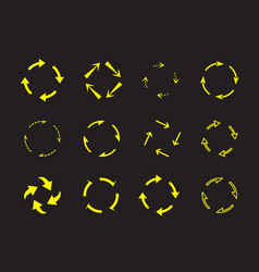 Set yellow circle arrows on black background vector