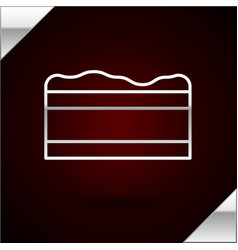 Silver line brownie chocolate cake icon isolated vector