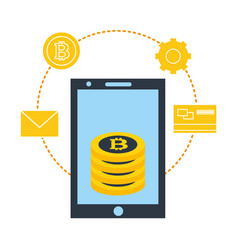 Smartphone stack bitcoins business fintech vector