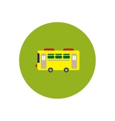 Stylish icon in color circle retro bus vector