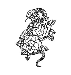 Tattoo with rose and snake with sacred geometry vector