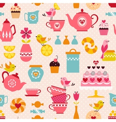 Tea with love pattern vector