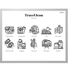 travel icons line pack vector image