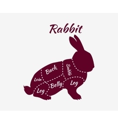 Typographic Rabbit Butcher Cuts Diagram vector