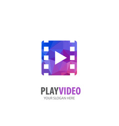 video play logo for business company simple video vector image