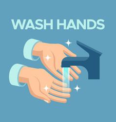 Wash hands skin disinfection antibacterial hand vector