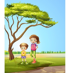 A girl with a young boy vector image vector image