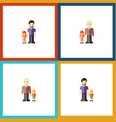 flat icon people set of grandpa grandson son vector image vector image