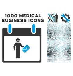 Postman Calendar Day Icon With 1000 Medical vector image vector image