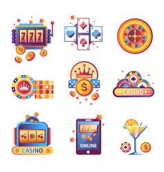 casino poker gambling game icons vector image