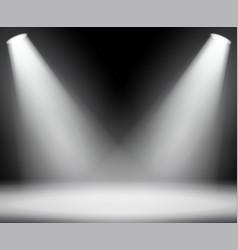 dark background with spotlights light studio vector image vector image