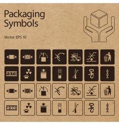 Packaging symbols on cardboard vector