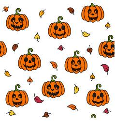pumpkin and leaf autumn halloween seamless pattern vector image