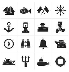 Black Marine sea and nautical icons vector image