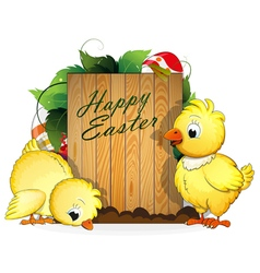 Chickens and painted easter eggs vector