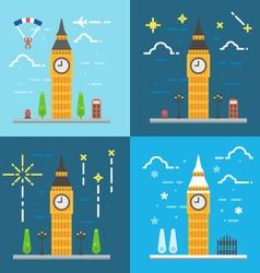 Flat design 4 styles of Big ben clock tower London vector image