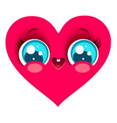 pink heart in kawaii style vector image vector image