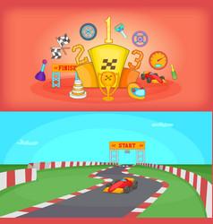 Sport race banner set horizontal cartoon style vector