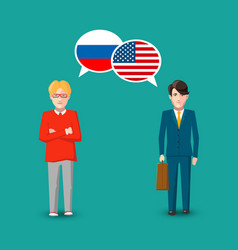 Two people with white speech bubbles with russia vector