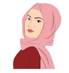Beautiful Islamic Woman In Hijab Sharia vector image