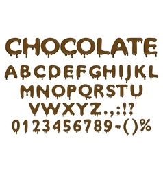Chocolate alphabet numbers and symbols vector image