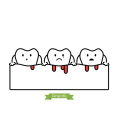 gingivitis and bleeding - cartoon outline style vector image