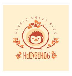 Kids club logo with hedgehog cute kindergarten vector