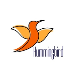 Silhouette of orange hummingbird or colibri bird vector image vector image