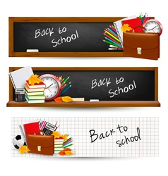 three banners with school supplies vector image vector image